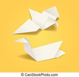 Abstract origami birds