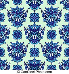 Abstract porcelain blue and white ethnic background seamless pattern