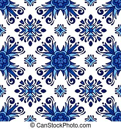 Abstract porcelain blue and white l ethnic background seamless pattern