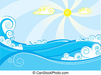 Abstract sea waves. Vector illustration on blue white