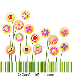 Abstract springtime colorful flower on green stripe background