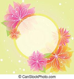 Abstract springtime flower greeting card on green yellow background