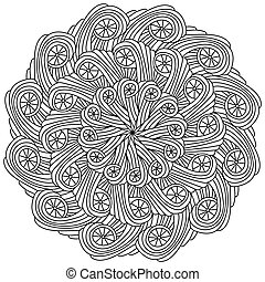Abstract symmetrical mandala, zen coloring page with simple linear swirls