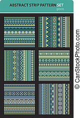 Abstract vector strip pattern set. Greens colors