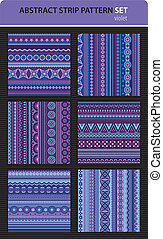 Abstract vector strip pattern set. Violet colors