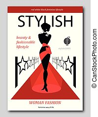 Abstract womanon a red carpet with stars. Luxury Fashion magazine cover design