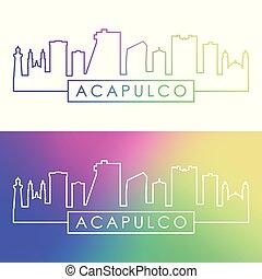 Acapulco city skyline. Colorful linear style.