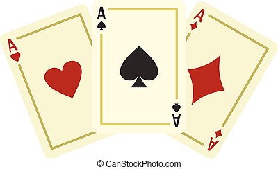 Aces playing cards icon, flat style