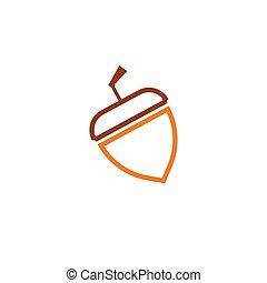 Acorn oak logo ilustration vector