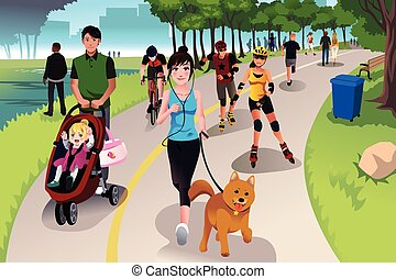 A vector illustration of people in a park doing activities