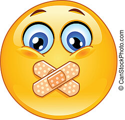 Emoticon with adhesive bandages over his lips
