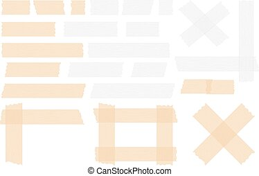 Pieces of transparent adhesive tape, sticky tape, vector eps10 illustration