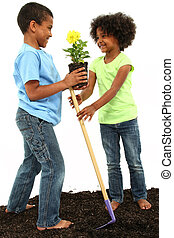 Adorable Black Brother and Sister Planting Flowers Together
