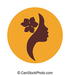 African American woman side face icon - brown sign on yellow background