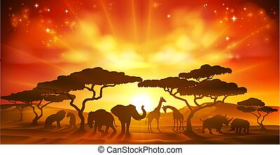 African Safari Animal Silhouettes Landscape Scene