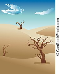 Illustration of african landscape, savanna nature with trees.