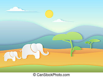 African savannah landscape with Elephants, mountains and trees. Trendy paper cuted style vector illustration.
