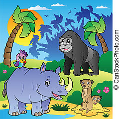 African scenery with animals 6