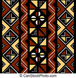 African seamless coffee pattern in rough shapes
