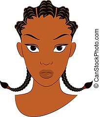 Vector Illustration of an Afro Girl With the Corn Row Braid Plait Hair Style