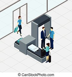 Airport security check with isometric people in queue vector illustration