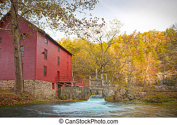 mill house at alley spring missouri in fall