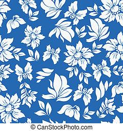 Seamless hawaiian flower pattern in blue