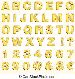 Alphabet golden gold letter vector metal singboard plates set