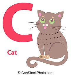 Alphabet Illustration for Letter C with Cute Cat