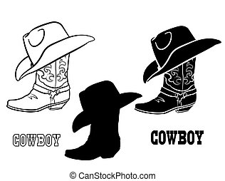 American Cowboy boots and hat. Vector set graphic illustration of western cloth isolated on white