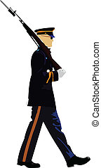 American soldier during a military parade. Vector illustration on white background