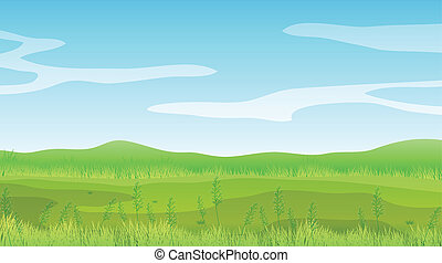 Illustration of an empty field under a clear blue sky