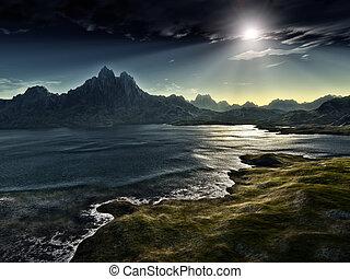 An image of a dark fantasy landscape
