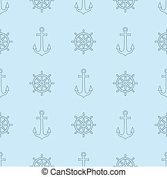 Anchor and ship wheel seamless pattern design. Vector nautical sea pattern print, ship wheel and anchor on blue background.