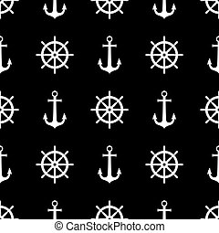 Anchor and ship wheel seamless pattern design. Vector nautical sea pattern print, white ship wheel and anchor on black background.
