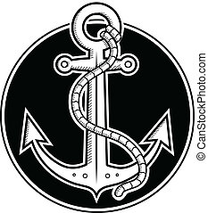 Black and white vector illustration of anchor done in woodcut style. Layered file for easier customization.