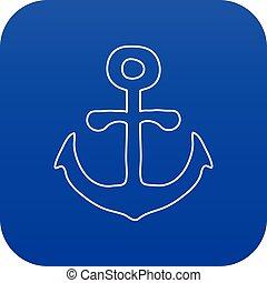 Anchor icon blue vector