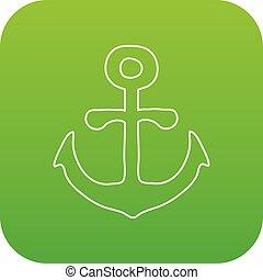 Anchor icon green vector