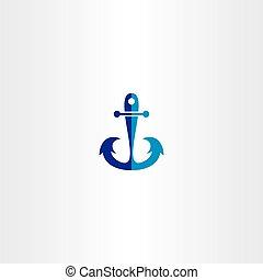 anchor icon vector blue symbol