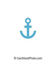 Anchor Nautical Blue Isolated on white background. Anchor vector logo icon maritime ocean sea boat illustration symbol