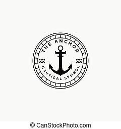 anchor nautical ocean logo vector illustration design