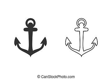 Anchor vector icon set logo Nautical maritime sea ocean boat illustration