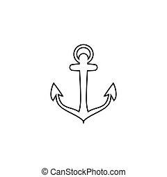 Anchor vector line icon logo Nautical maritime sea ocean boat illustration