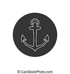 Anchor vector line icon logo Nautical maritime sea ocean boat