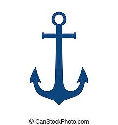 Anchor vector logo blue icon Nautical maritime sea ocean boat illustration symbol