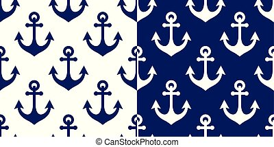 Anchor vector seamless pattern, marine navy blue repetitive background, coastal wallpaper or textile design