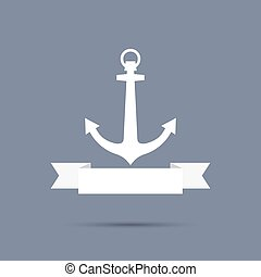 Anchor with ribbon.