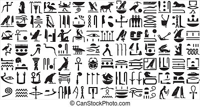 A collection of ancient Egyptian symbols. Various Egyptian hieroglyphics.
