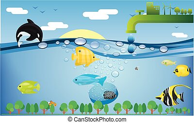 and a dolphin is also playing with fishes