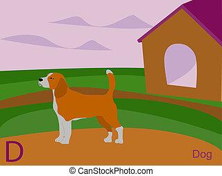 Animal alphabet, D for dog